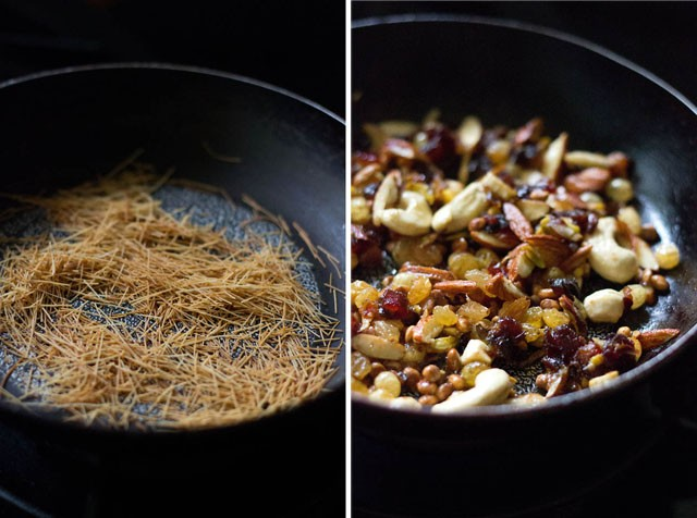 collage of roasting vermicelli and nuts, dry fruits in a black pan