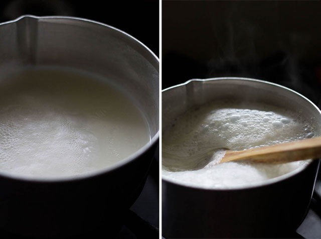 collage of milk being heated and boiling milk being stirred in a sauce pan