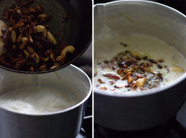 collage of roasted, nuts, dry fruits added to milk and roasted nuts in the milk.