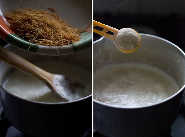 collage of roasted vermicelli and sugar being added to milk