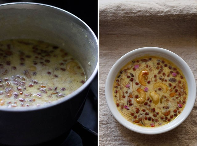 collage of sheer khurma ready in the saucepan and sheer khurma served in a white bowl