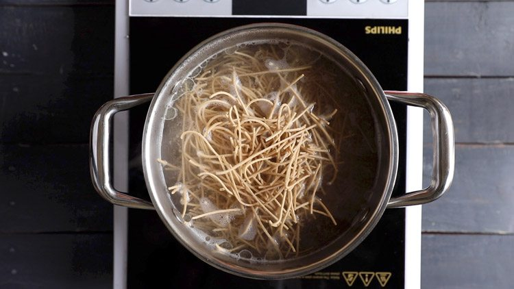 noodles added to the boiling water