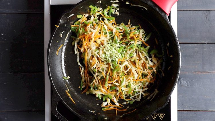 adding celery in veg noodles recipe