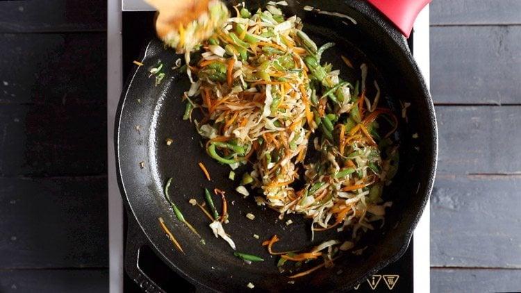 stir frying vegetables for veg noodles recipe