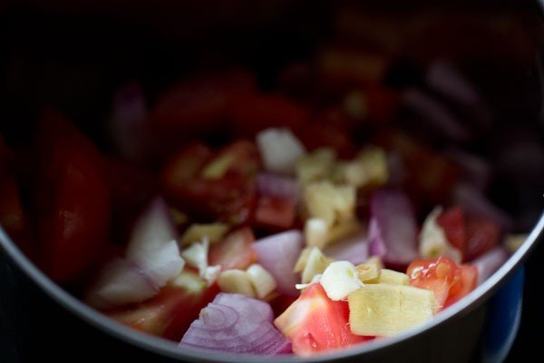 onions, tomato, ginger and garlic chopped in the base of a spice grinder