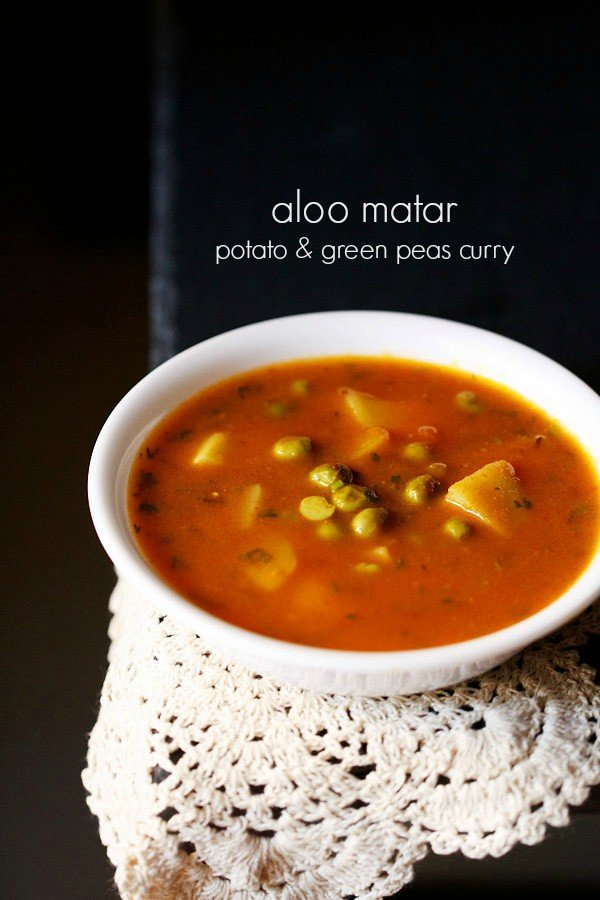 aloo matar curry recipe, how to make punjabi aloo matar recipe