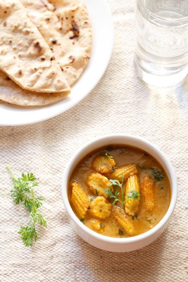 baby corn masala recipe, how to make baby corn masala curry recipe