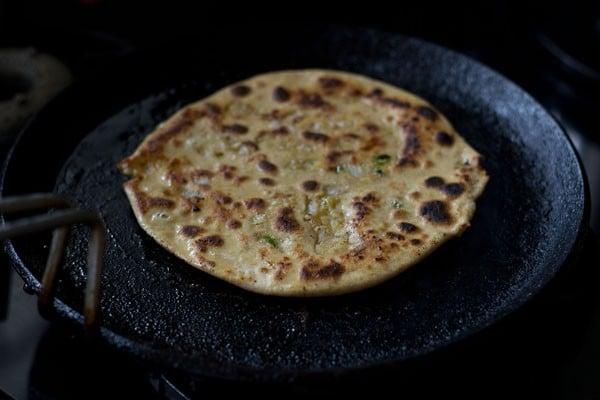 frying - chana dal paratha recipe