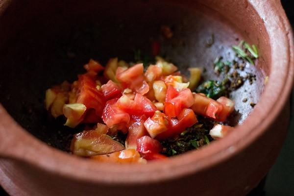 add tomatoes to make pepper cumin rasam recipe