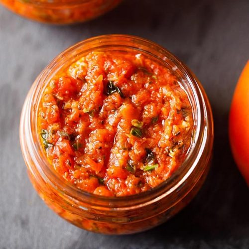 pizza sauce in a small glass jar