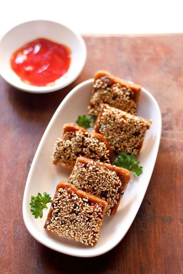 sesame toast recipe, how to make veg sesame toast recipe