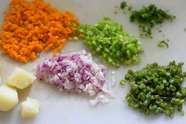 veggies for veg sesame toast recipe