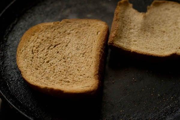 toasting the bread for tomato soup recipe
