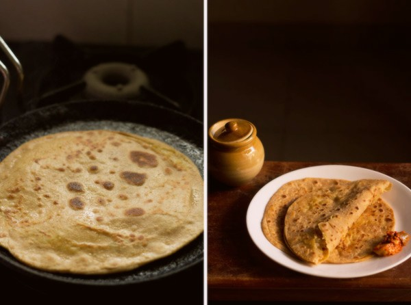 making aloo gobi paratha recipe