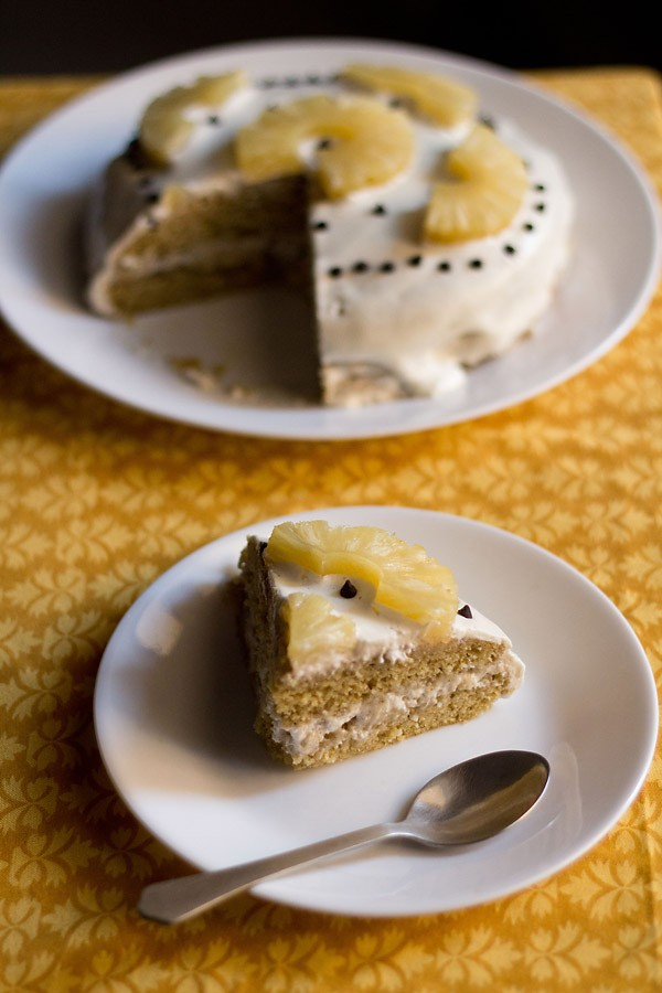 eggless pineapple cream cake