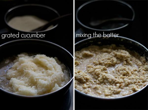 grated cucumber for making cucumber cake recipe