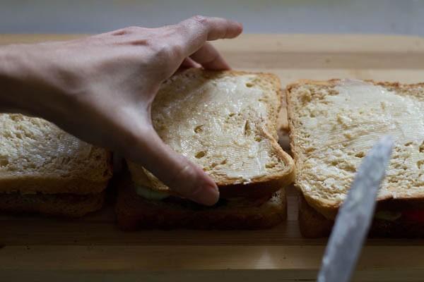 making grilled veg sandwich recipe