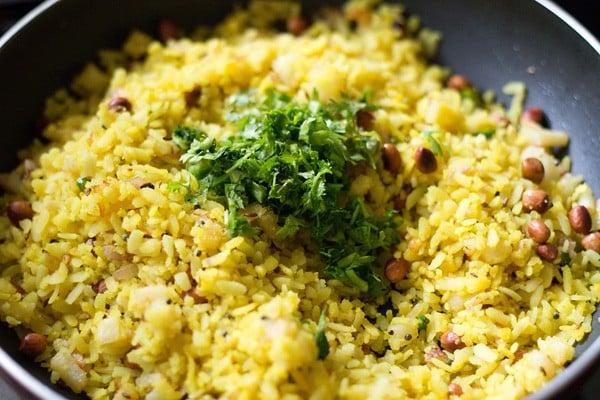 coriander leaves to make onion potato poha recipe