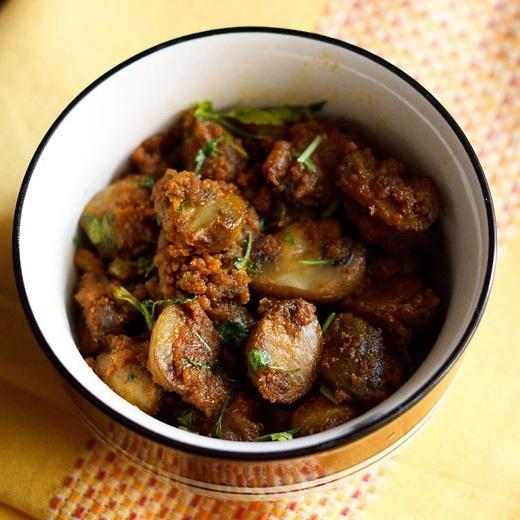 mushroom roast recipe, mushroom sabzi recipe