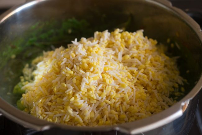 Add rice and moong dal to the mixture