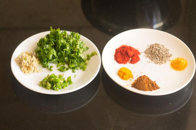spices and herbs for the recipe on plates