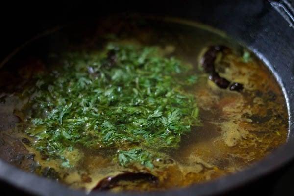 add coriander leaves to rasam recipe