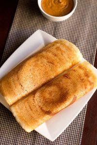 easy dosa recipe made with rice flour & urad flour