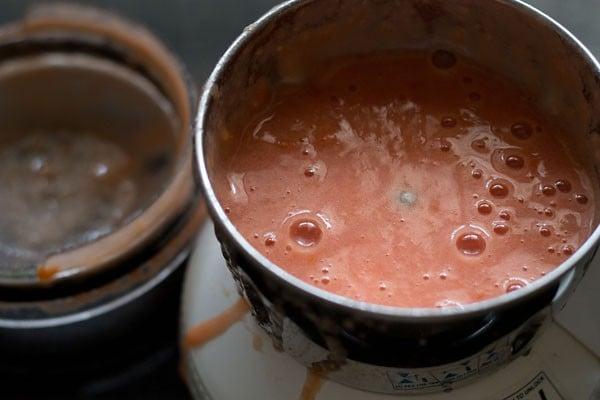 tomato puree in spice grinder