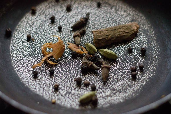 roasting spices for making bisi bele bath masala recipe