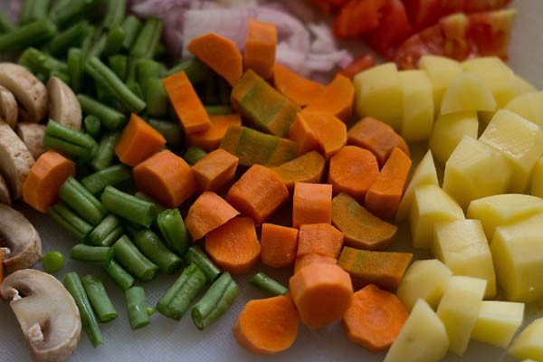 mixed veggies for korma recipe