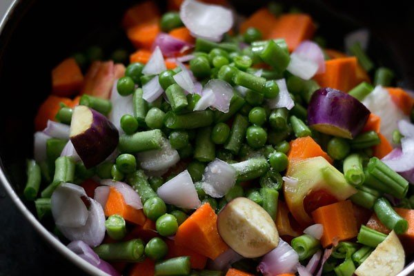 chopped veggies for bisi bele bath recipe
