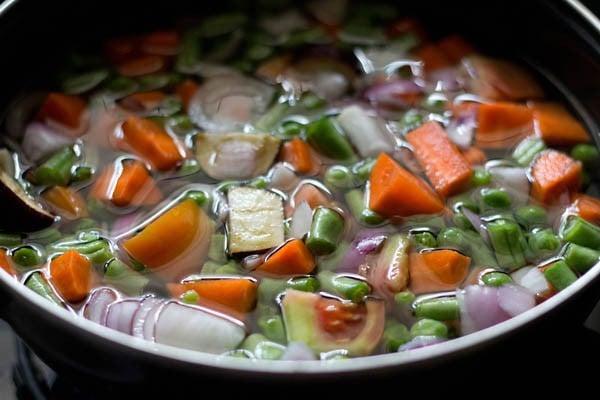 add water to veggies - bisi bele bath recipe