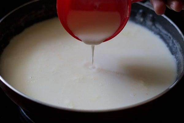 stir the milk kulfi mixture