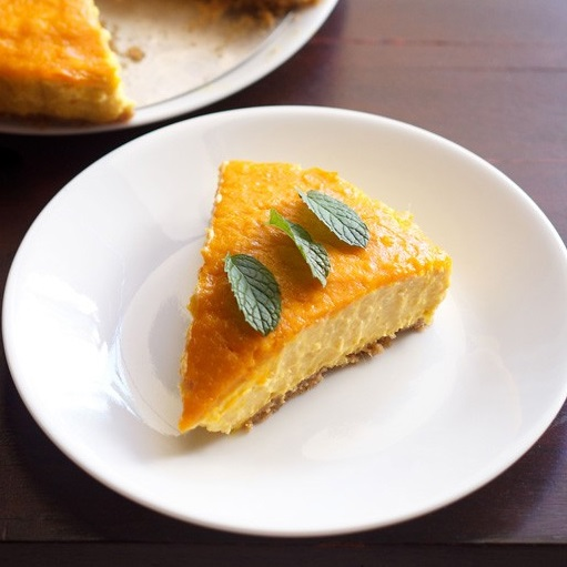 eggless mango cheesecake recipe, vegetarian mango cheese cake recipe