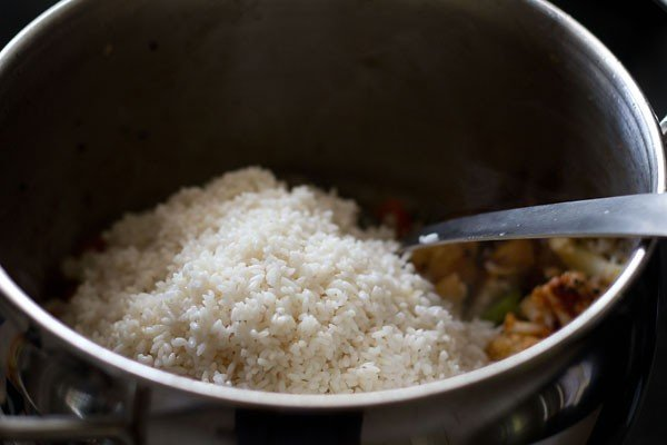 add soaked rice for masala bhaat recipe