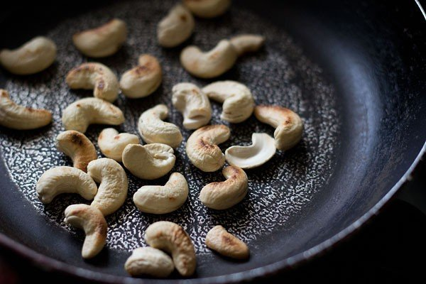 dry roast cashews for making masala bhaat recipe