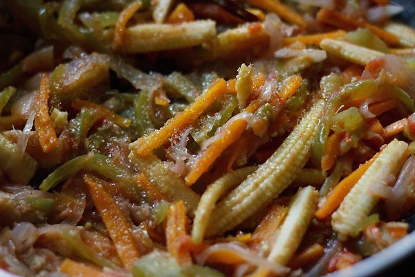 cooking veggies - making paneer jalfrezi recipe