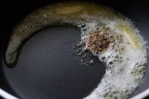 saute cumin - making tawa pulao recipe