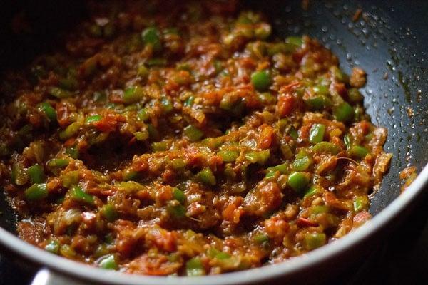 add veggies - making tawa pulao recipe