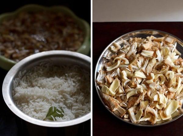 chopped raw jackfruit for kathal biryani recipe