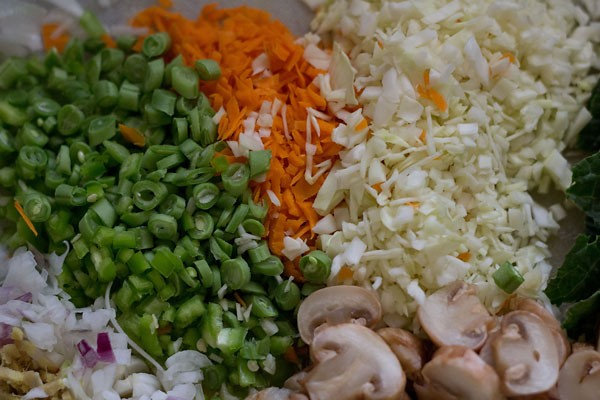 various chopped vegetables on a chopping board