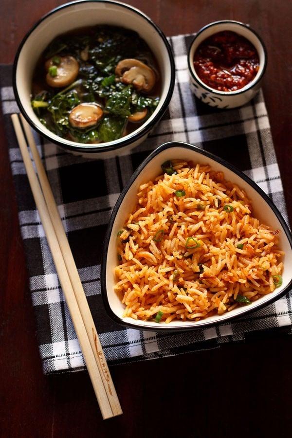 schezwan fried rice recipe, veg schezwan fried rice recipe stepwise