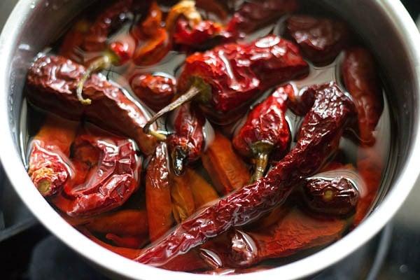 soak chillies for making schezwan sauce recipe