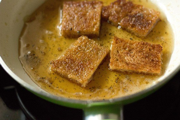 bread slices in sugar syrup - making shahi tukda recipe