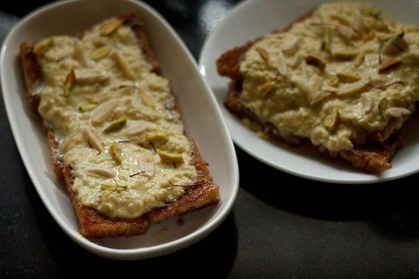assembling shahi tukda recipe