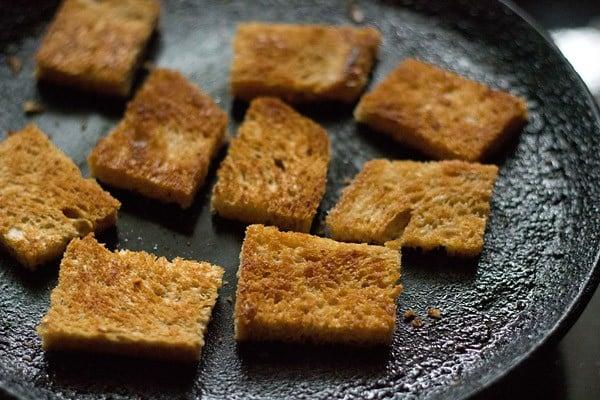 roasting bread for making shahi tukda recipe