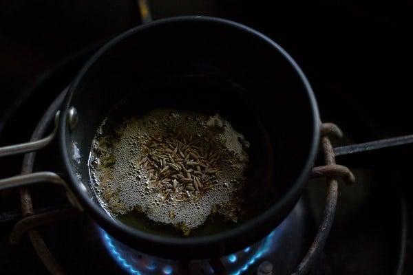 making cumin rice or jeera rice recipe