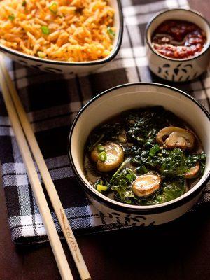 kale mushrooms in ginger sauce