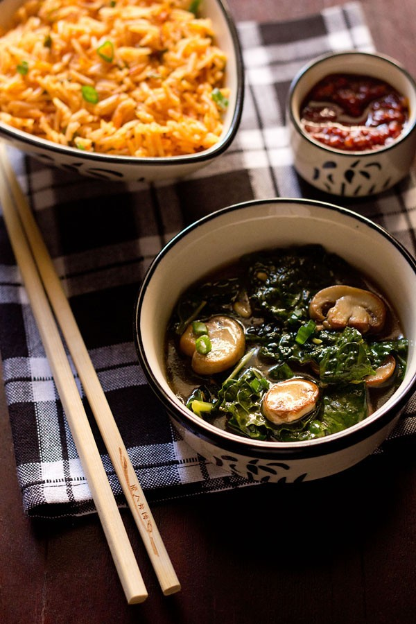 kale mushrooms in ginger sauce