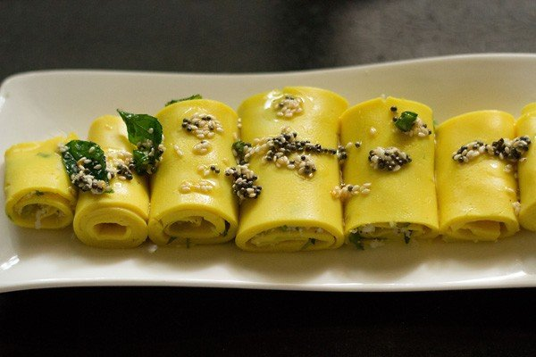 add tempering to khandvi rolls